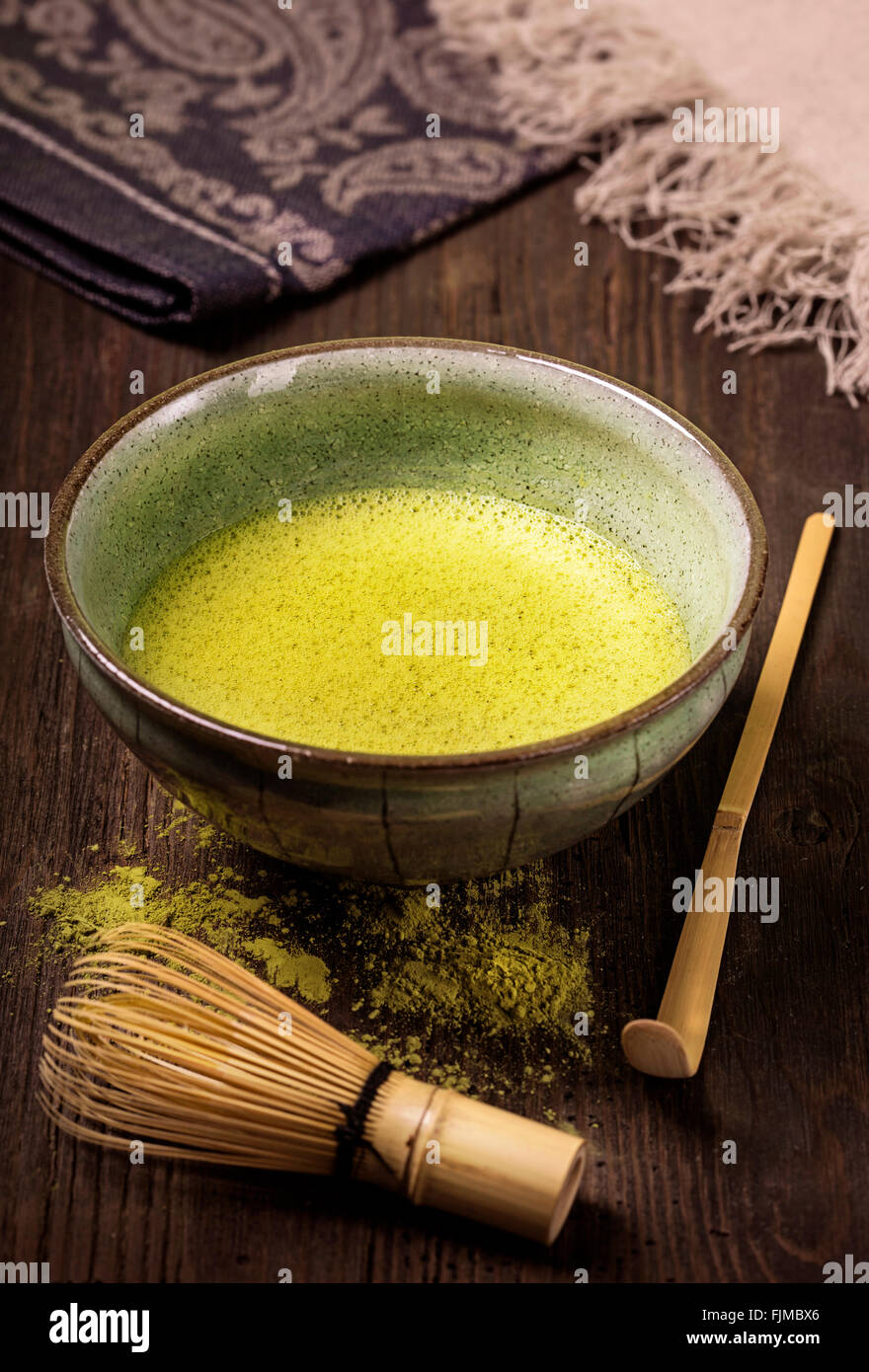 Matcha thé vert en poudre fine Photo Stock