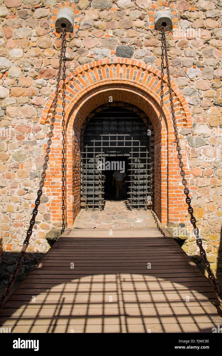 Géographie / billet, Lituanie, Trakai, Château de Trakai, pont-levis, Additional-Rights Clearance-Info Photo Stock