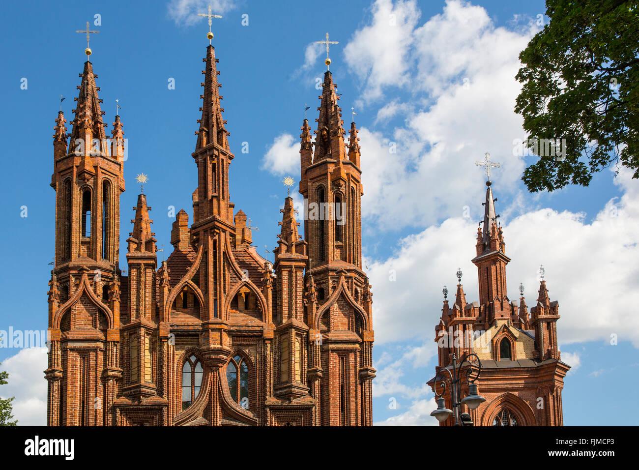 Géographie / billet, de la Lituanie, Vilnius, l'église de St Ann, Quartier Gothique, Additional-Rights Photo Stock