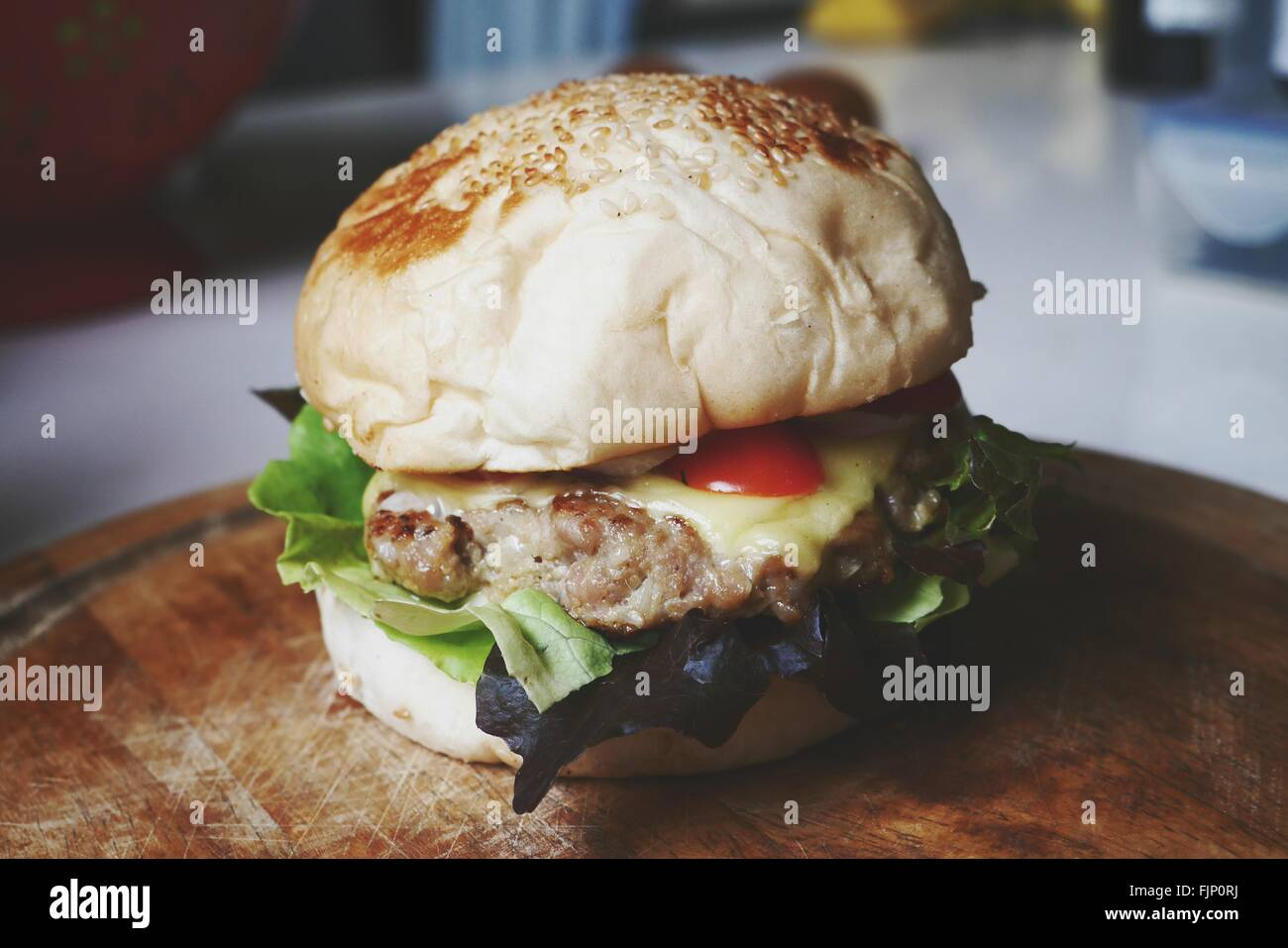 Portrait Of Burger sur tableau Photo Stock