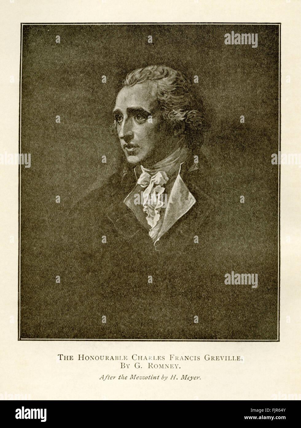 L'Honorable Charles Frances Greville (1749-1809). D'après une peinture de George Romney. Photo Stock