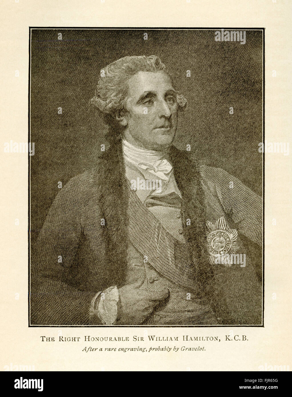Le Très Honorable Sir William Hamilton, K.C.B., à partir d'une gravure probablement par Hubert-François Photo Stock