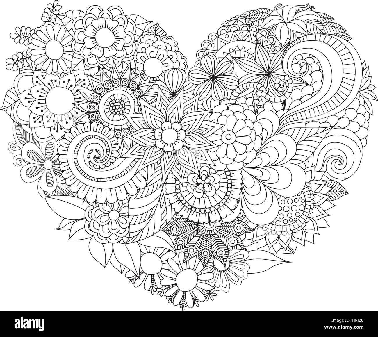 Coloriage Adulte Coeur.Line Art Design De Belles Fleurs En Forme De Coeur Pour La Carte