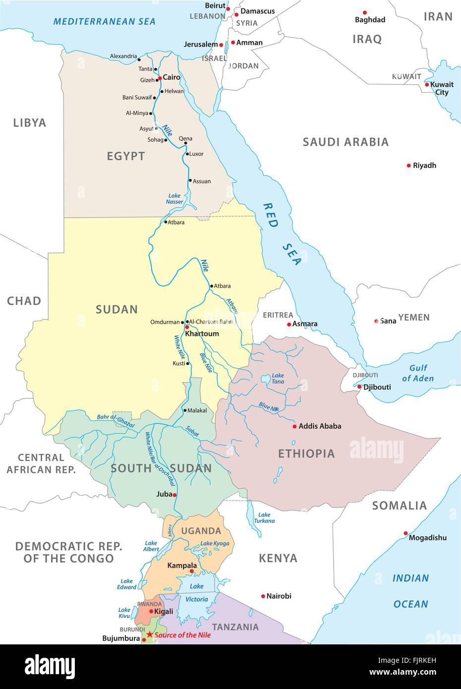 Carte Afrique Nil.Carte Du Nil Afrique Vecteurs Et Illustration Image