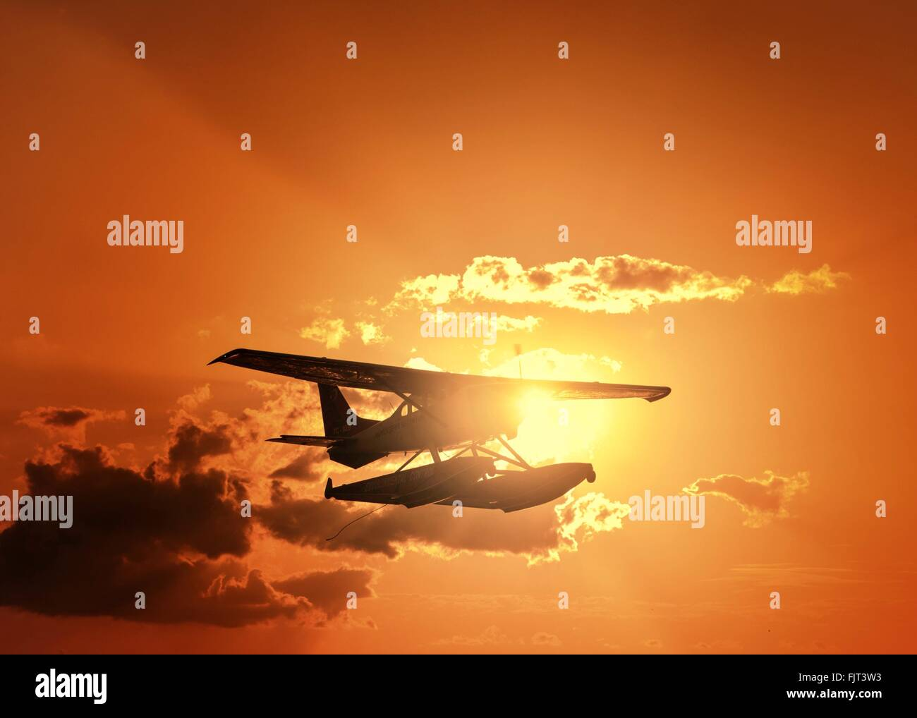 Low Angle View Of Back Allumé Seaplane Photo Stock