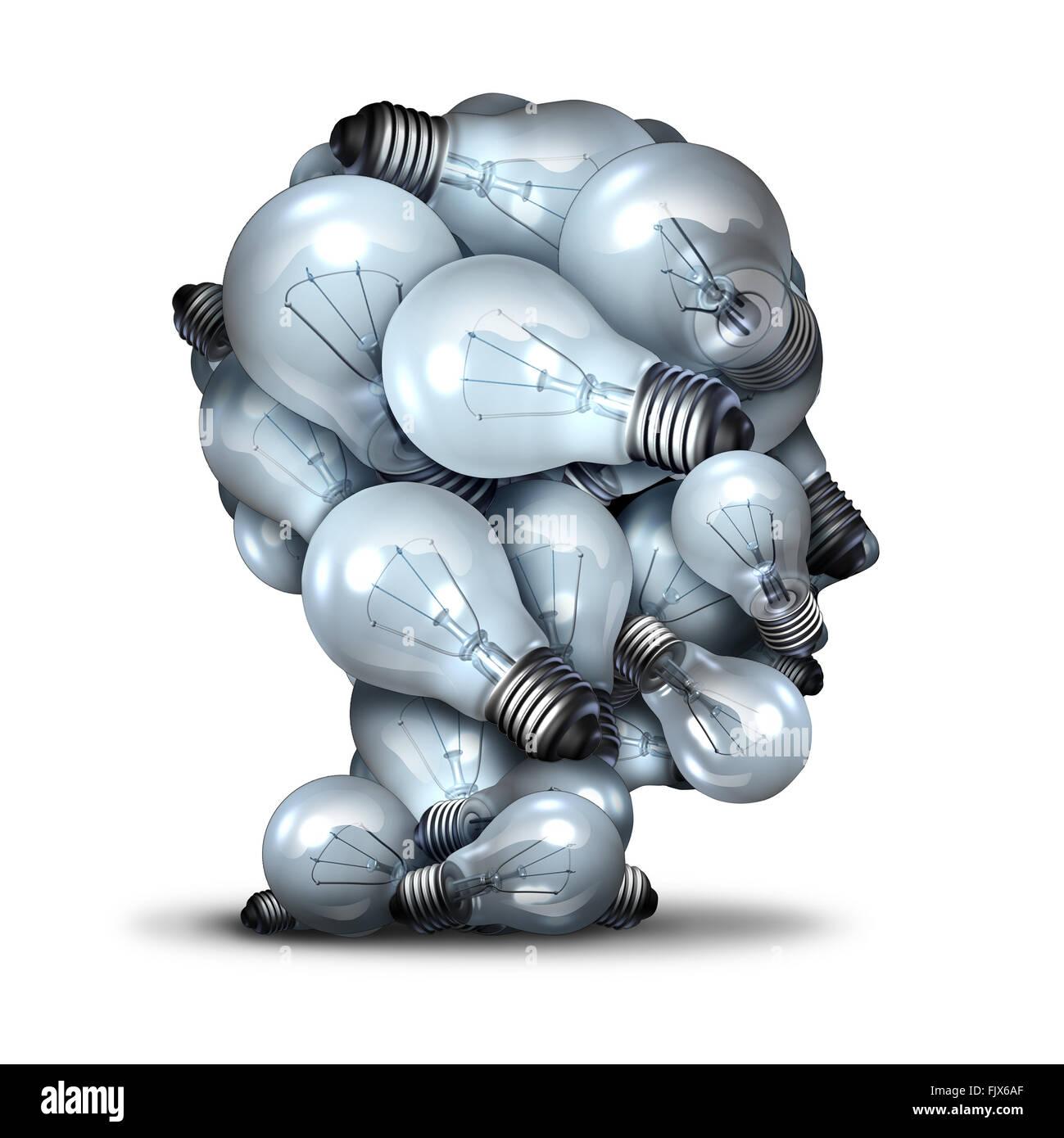 Tête d'ampoule de la créativité et de la puissance de l'imagination comme un groupe d'ampoules Photo Stock