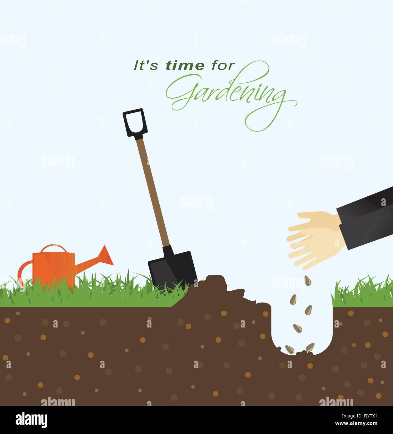 Il est temps pour le jardinage.mettre des graines dans le sol avec leur nom et l'arrosoir dans le champ Photo Stock