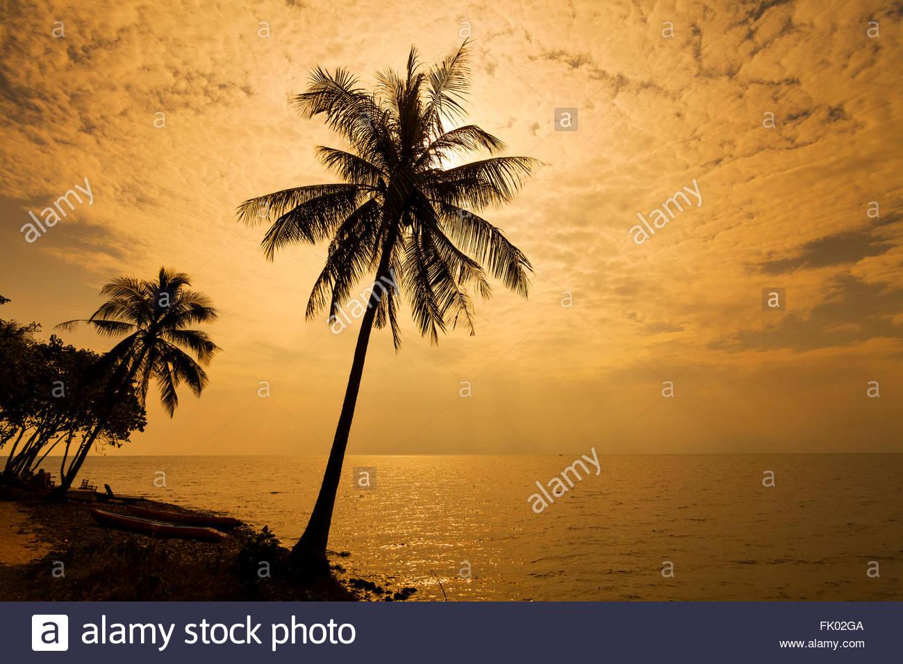 Coucher de soleil romantique sur la plage. Koh Chang. La Thaïlande. Photo Stock
