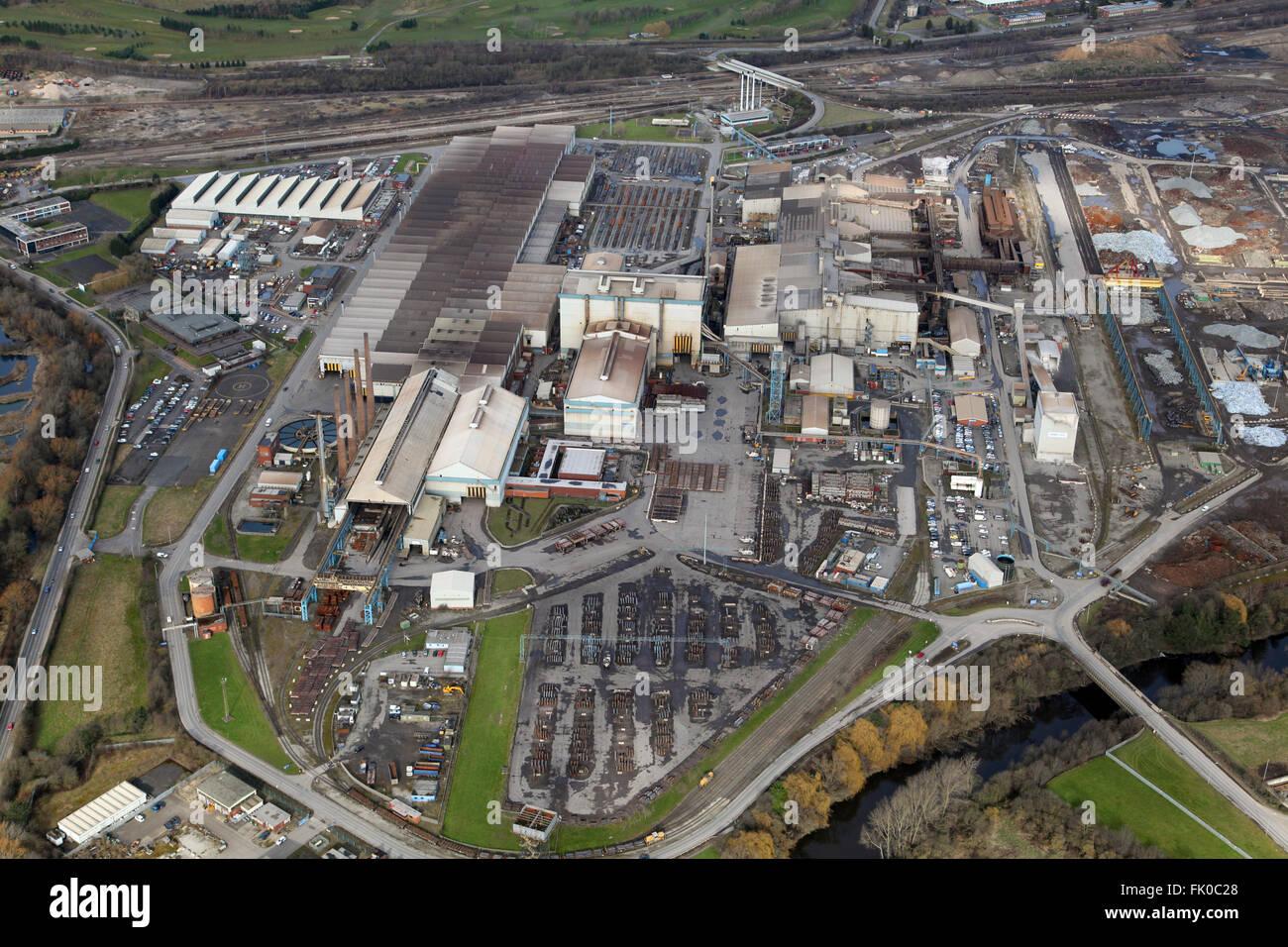 Vue aérienne d'une partie de la production de l'acier Tata à Rawmarsh complexe près de Rotherham, Photo Stock