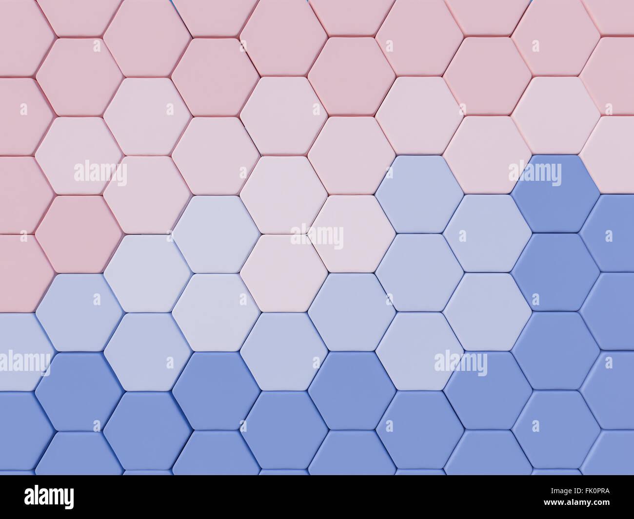 Sérénité bleu et rose quartz 3d abstrait arrière-plan hexagonal Photo Stock
