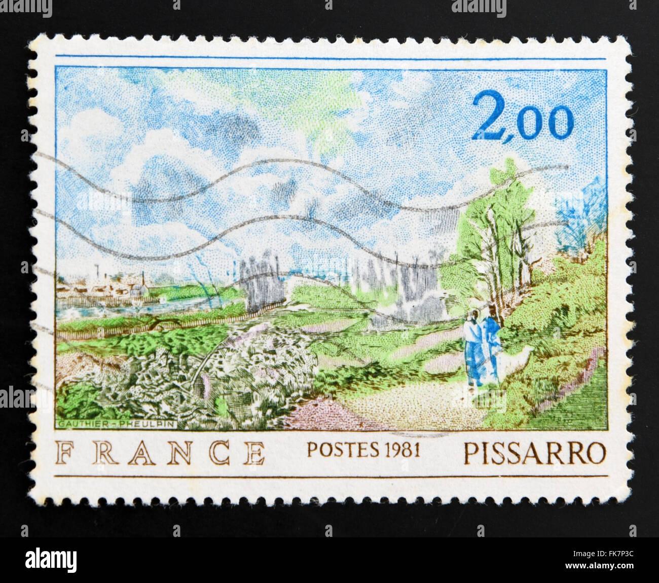 FRANCE - circa 1981: timbre imprimé en France montre le chemin de Chou par Pissarro, vers 1981 Photo Stock
