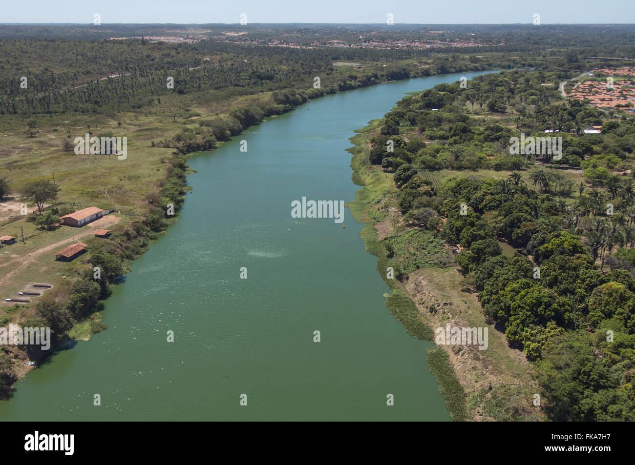 Vista aérea do Rio Poti - zona norte da Cidade Photo Stock