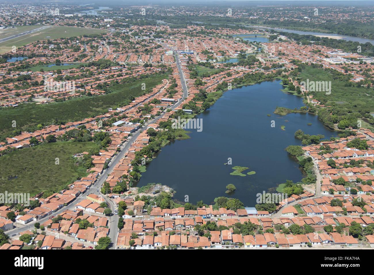 Vista Aérea de habitações Piçarreira em volta da Lagoa - zona norte Photo Stock