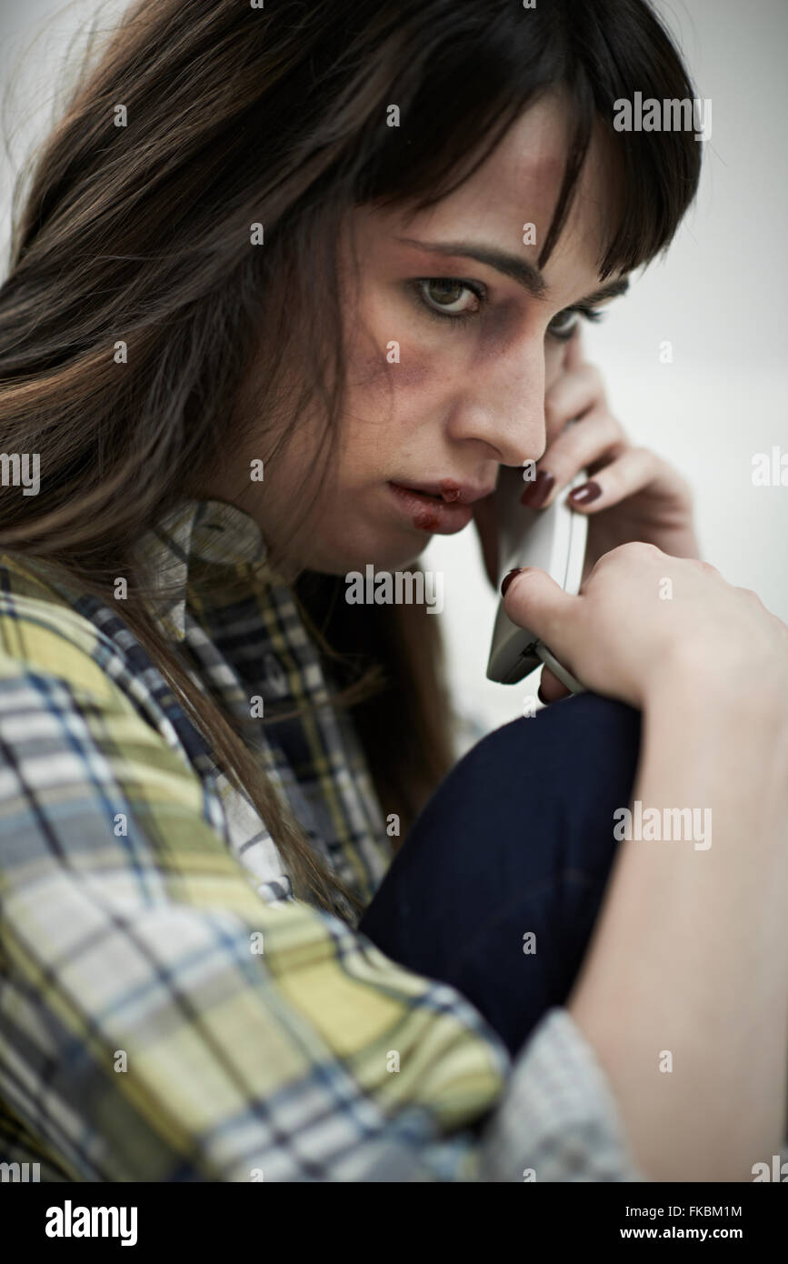 Femme victime de violence domestique au Groupe de soutien Photo Stock