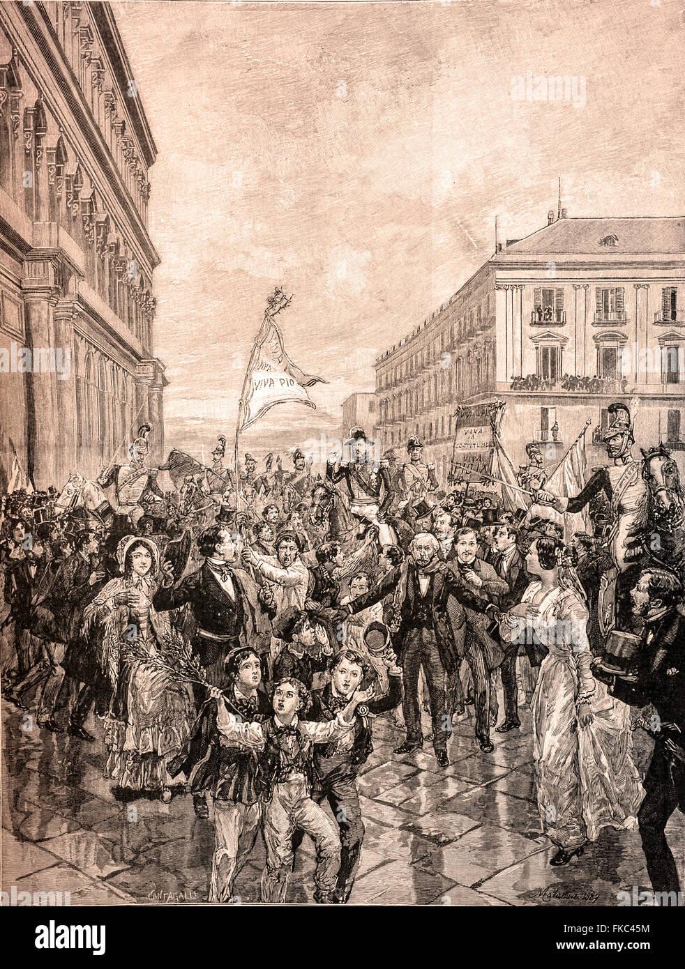 Risorgimento italien Acclamation de Ferdinand II de Bourbon Jura Constitution 24 Février 1848 Photo Stock
