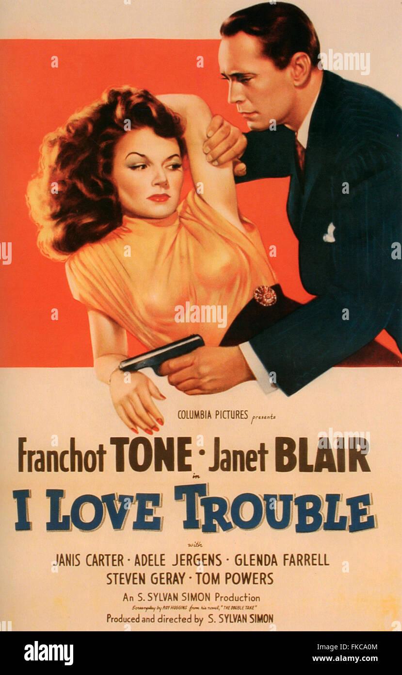 1940 USA I Love Trouble affiche de film Photo Stock