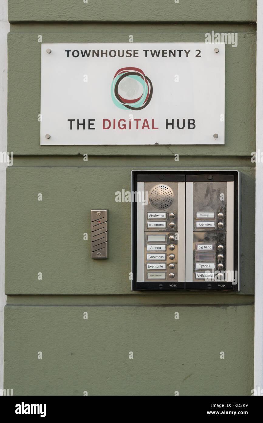 Le Digital Hub signe extérieur Townhouse Vingt 2, Dublin, Irlande Photo Stock