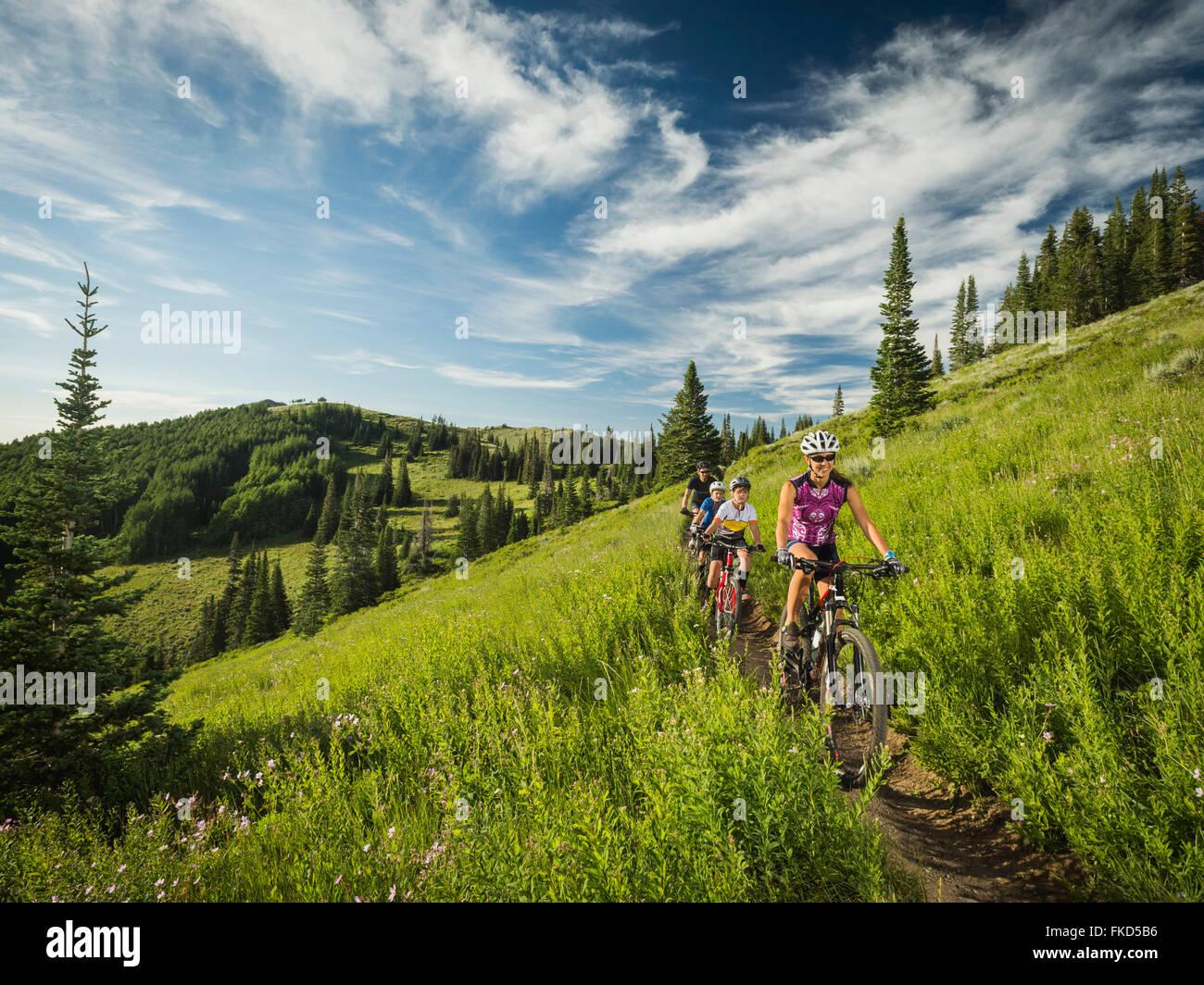 Les parents avec enfants (10-11, 12-13) au cours de vélo Photo Stock