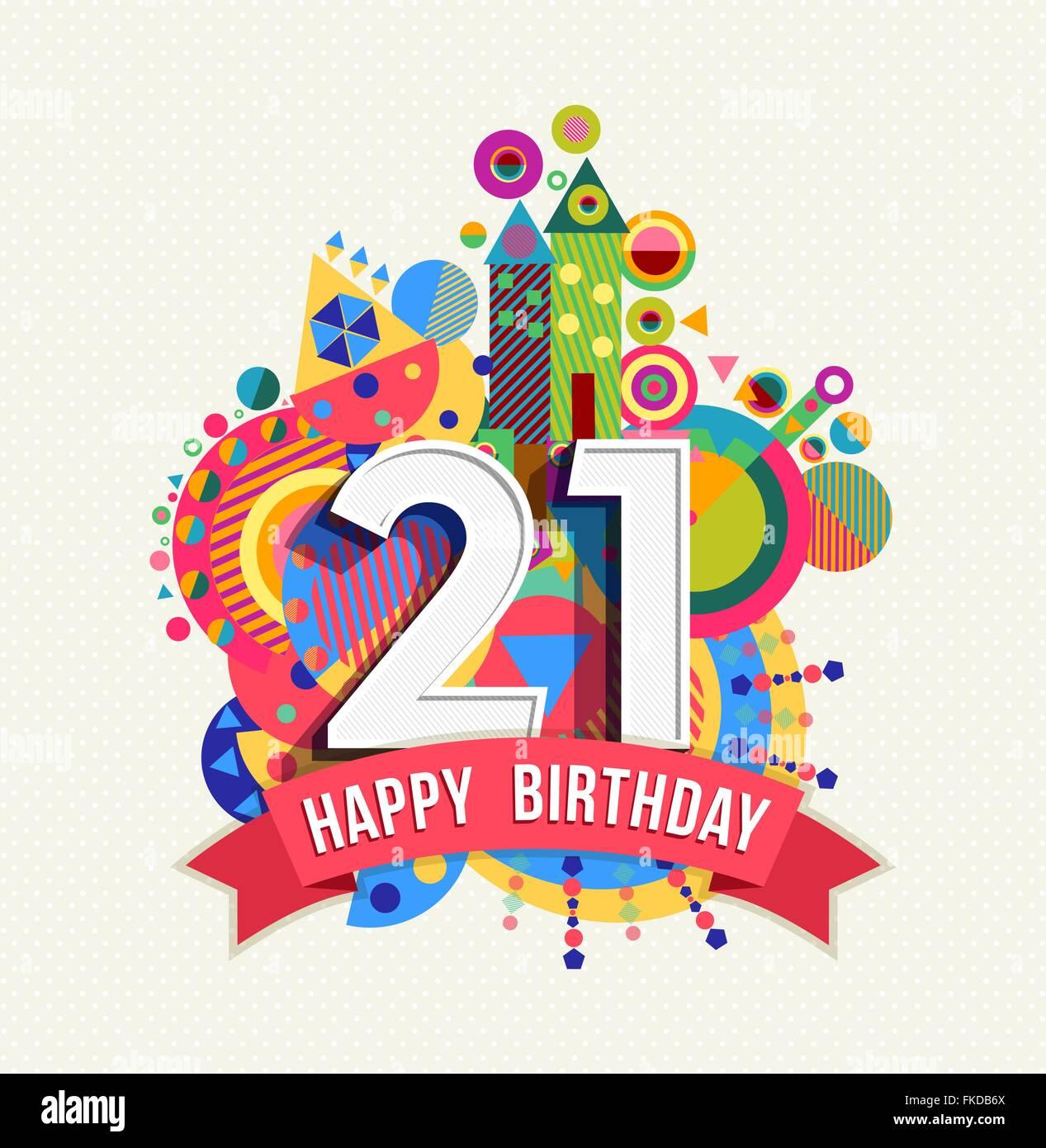 Joyeux Anniversaire Vingt Et Un 21 Ans Fun Anniversaire Carte