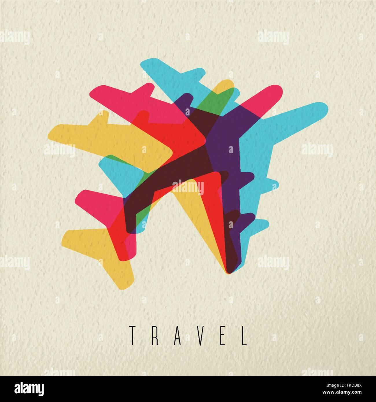 Travel concept illustration avec des jet silhouette sur fond de texture. Vecteur EPS10. Photo Stock