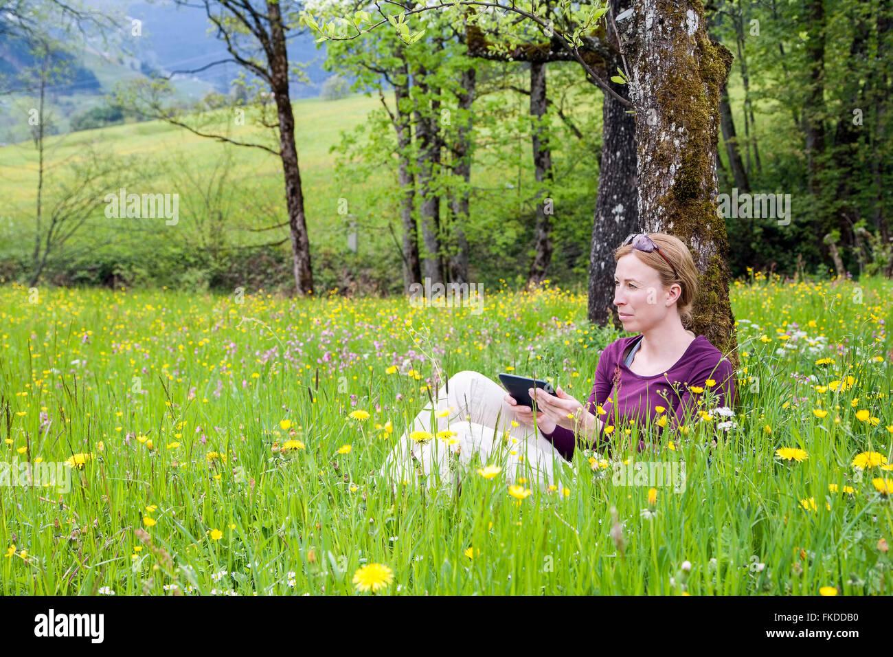 Femme à l'aide de e-reader in meadow Photo Stock