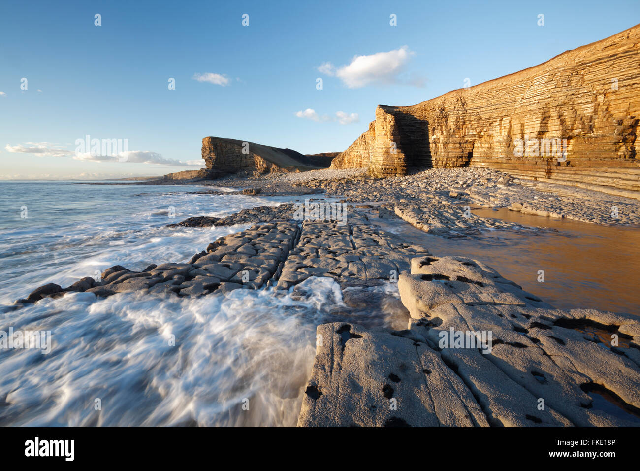 Nash Point. La côte du Glamorgan. Vale of Glamorgan. Le Pays de Galles. Photo Stock