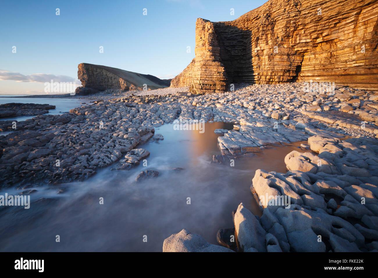 Nash Point. La côte du Glamorgan. Vale of Glamorgan. Le Pays de Galles. Banque D'Images