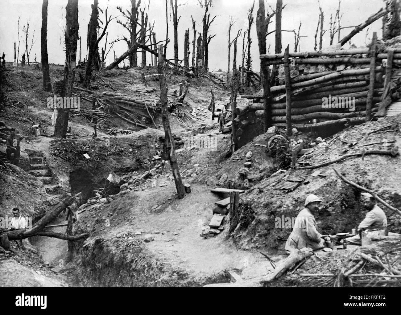 Bataille de la Somme. Tranchées dans la somme pendant la Première Guerre mondiale, c. 1916 Photo Stock