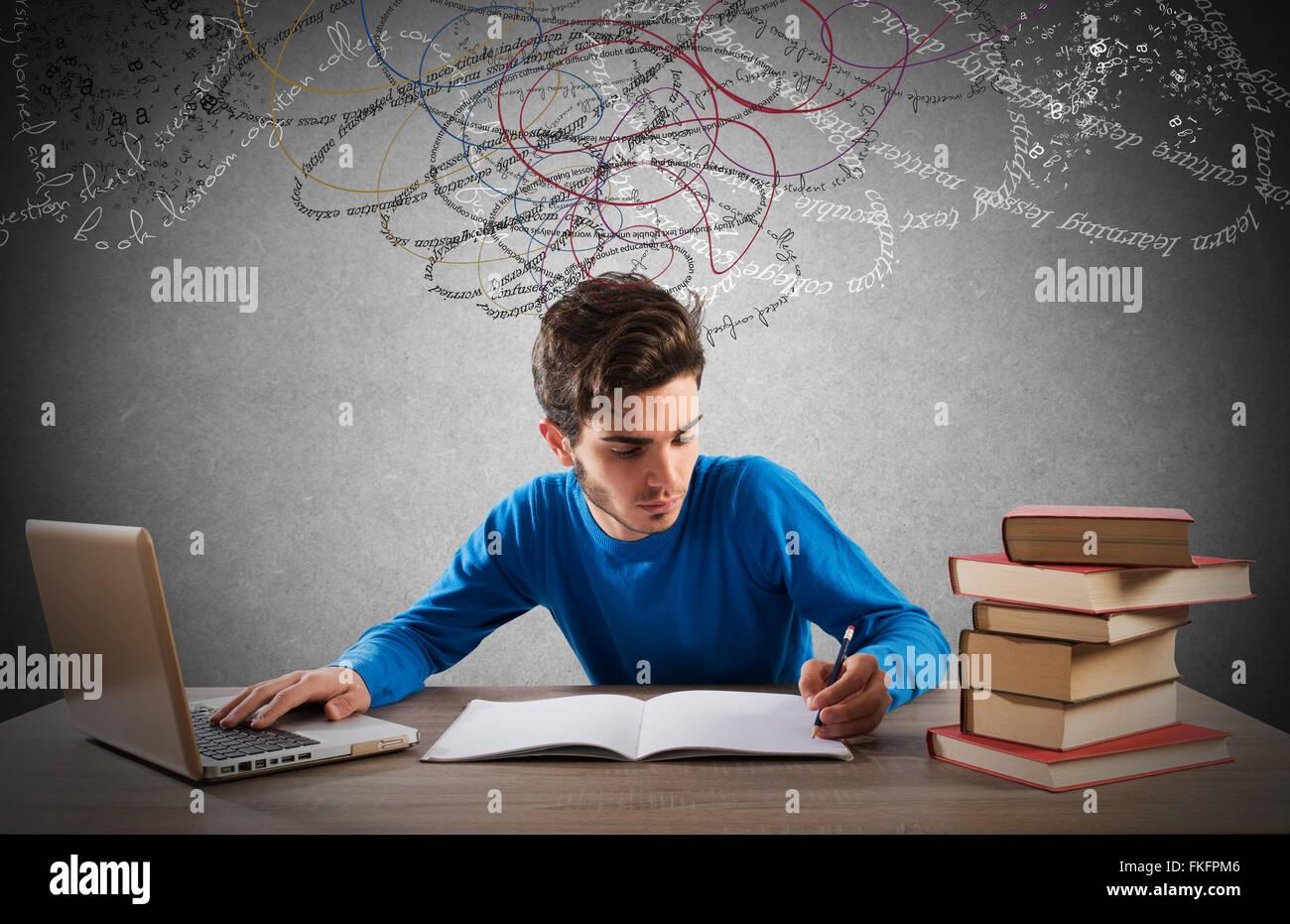 Avec l'ordinateur et les livres d'étude Photo Stock