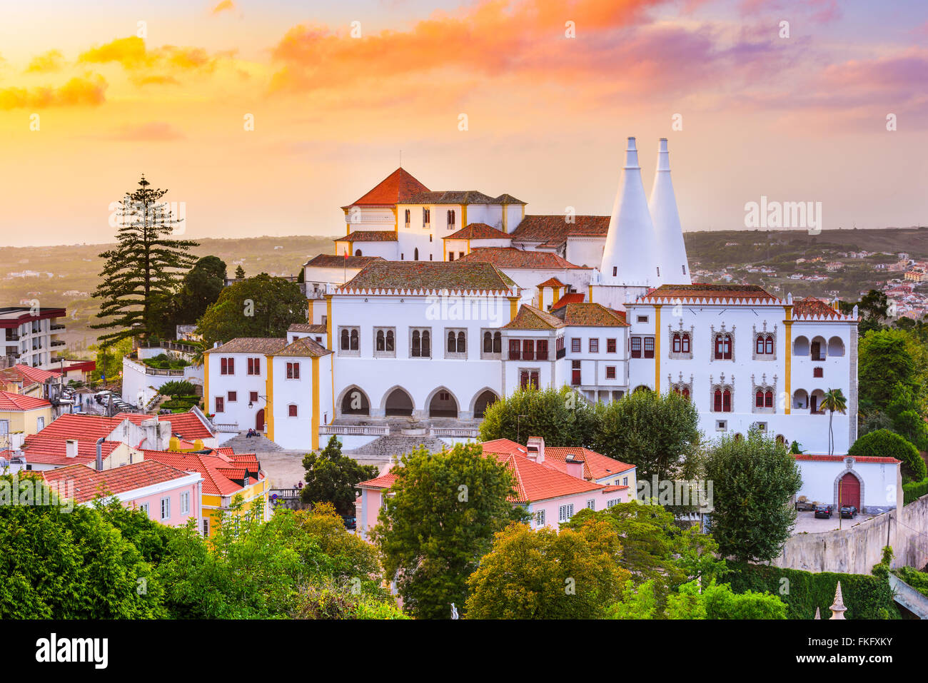Vieille ville de Sintra, au Portugal, au Palais National de Sintra. Photo Stock