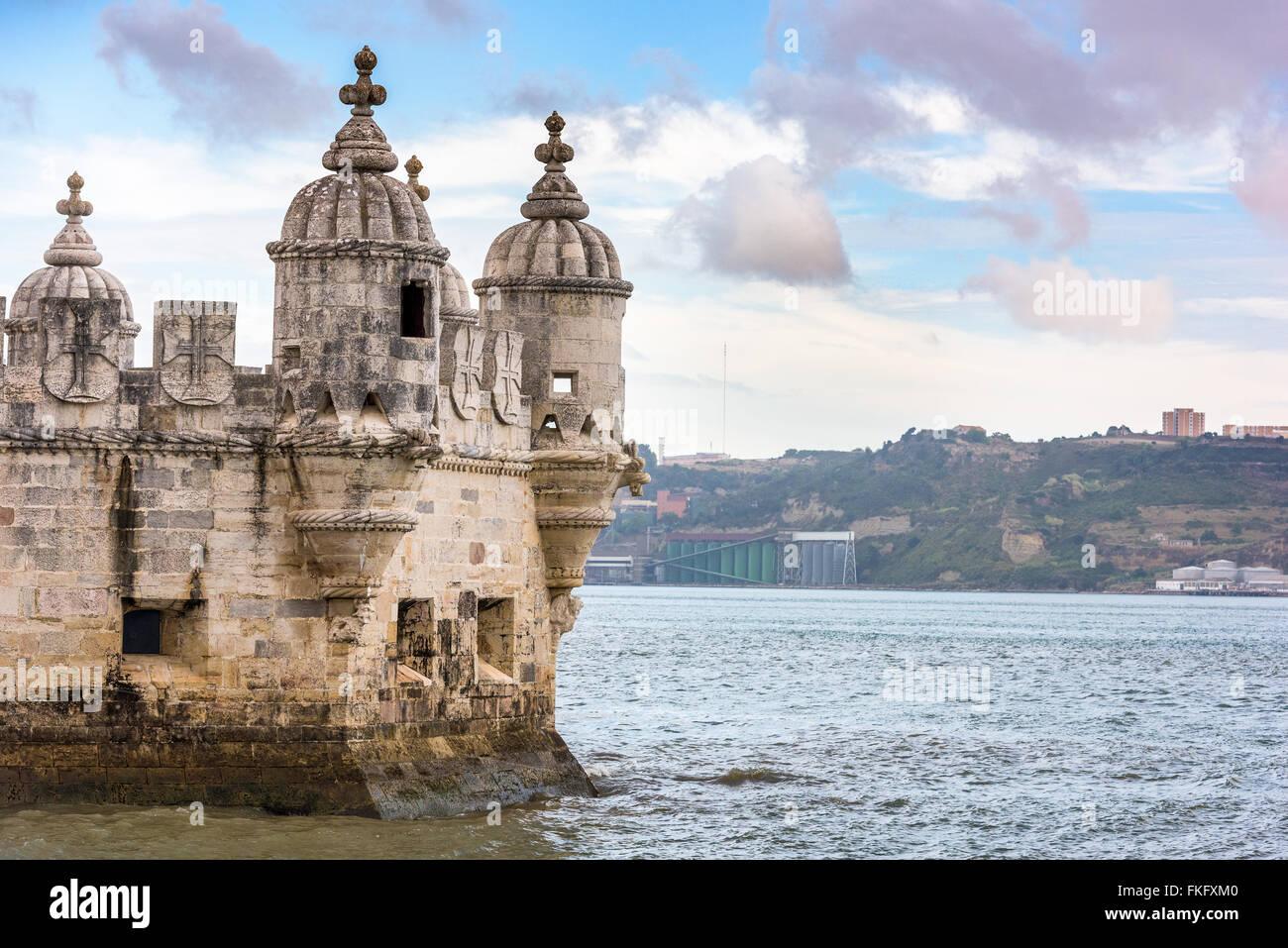 Tourelle de la Tour de Belém à Lisbonne, Portugal. Photo Stock