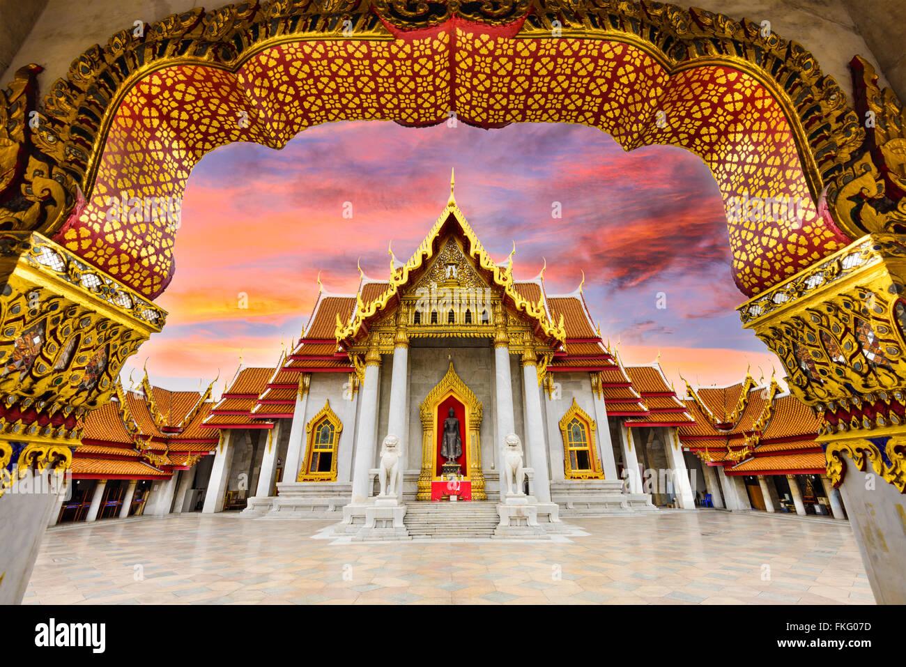 Temple de marbre de Bangkok, Thaïlande. Photo Stock