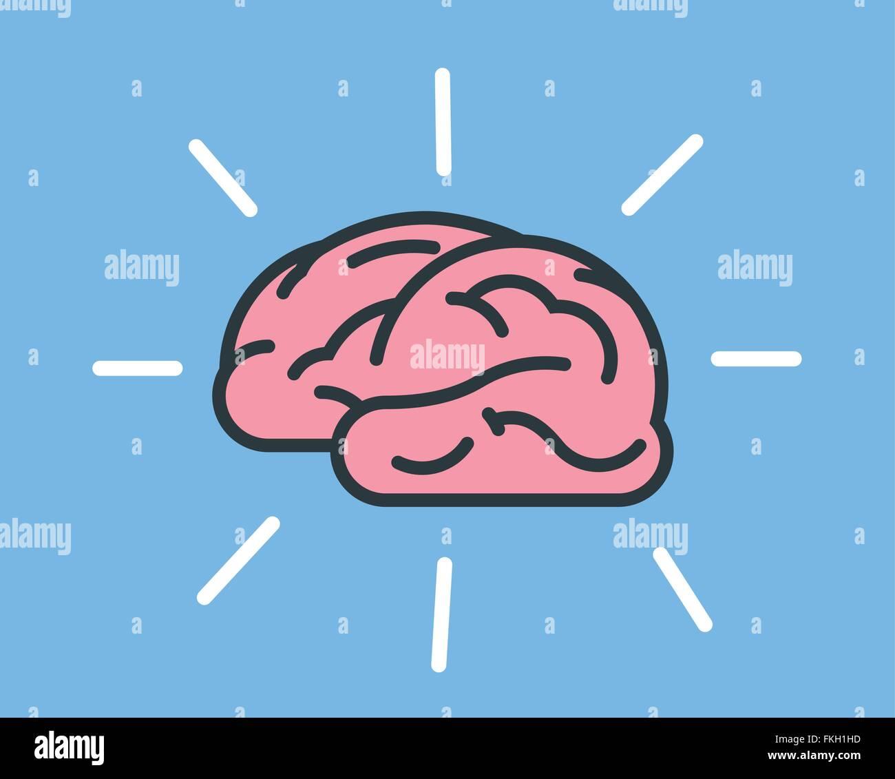L'icône du cerveau humain rayonnant Photo Stock