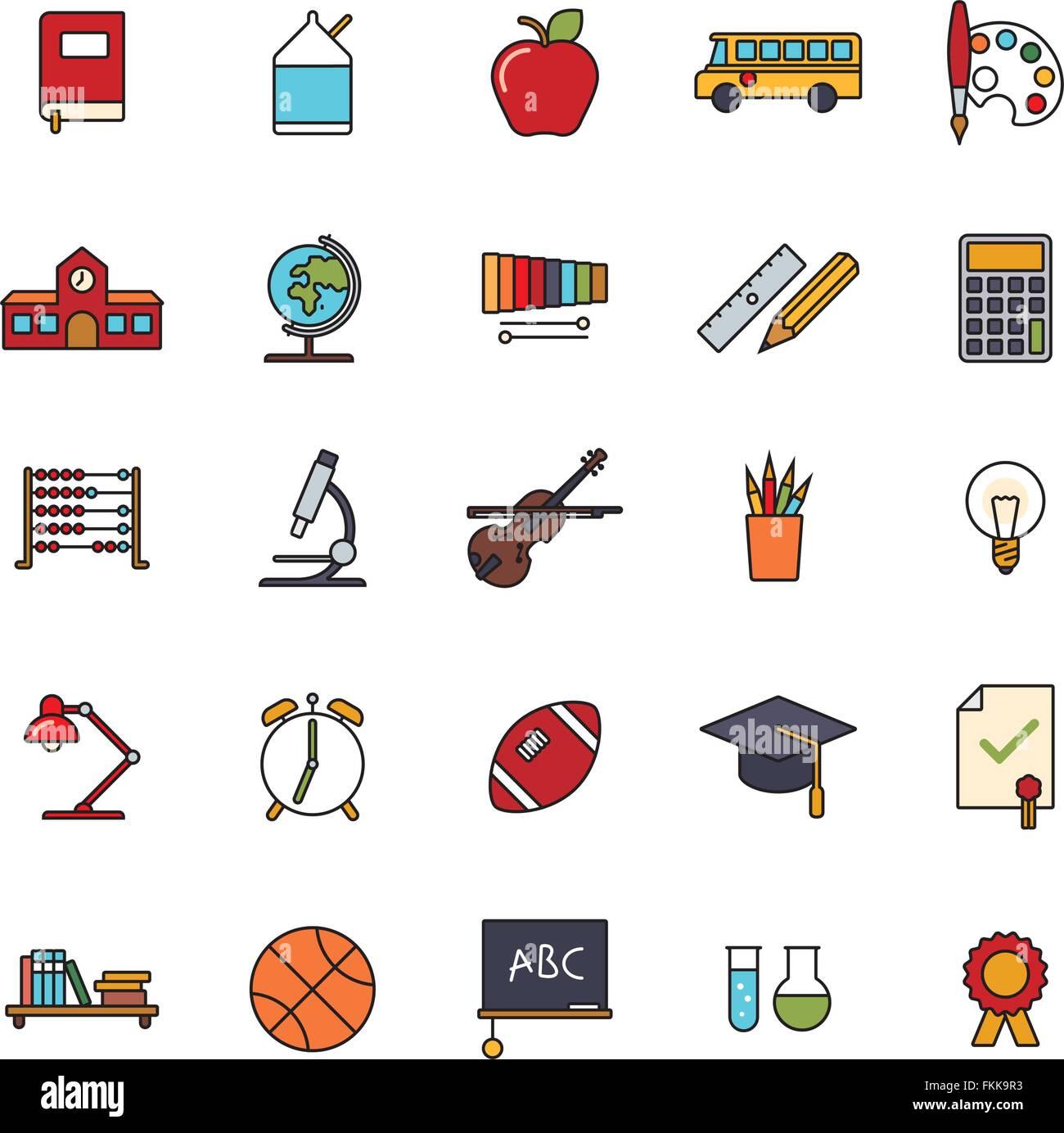 Collection de 25 l'enseignement, secondaire, collégial et universitaire remplie les icônes de ligne Photo Stock