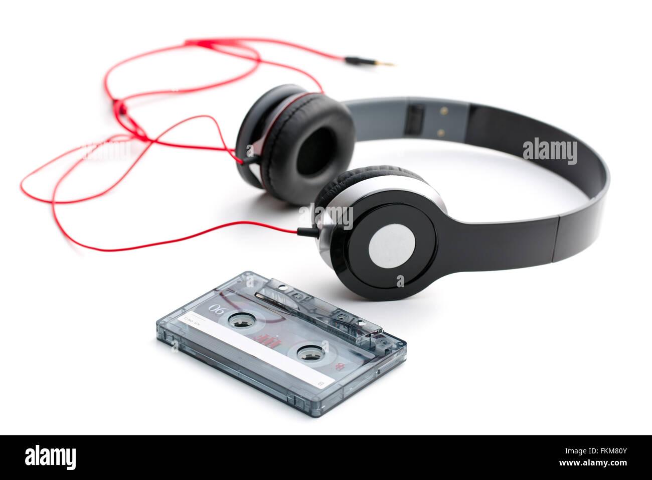 La cassette et le casque Photo Stock