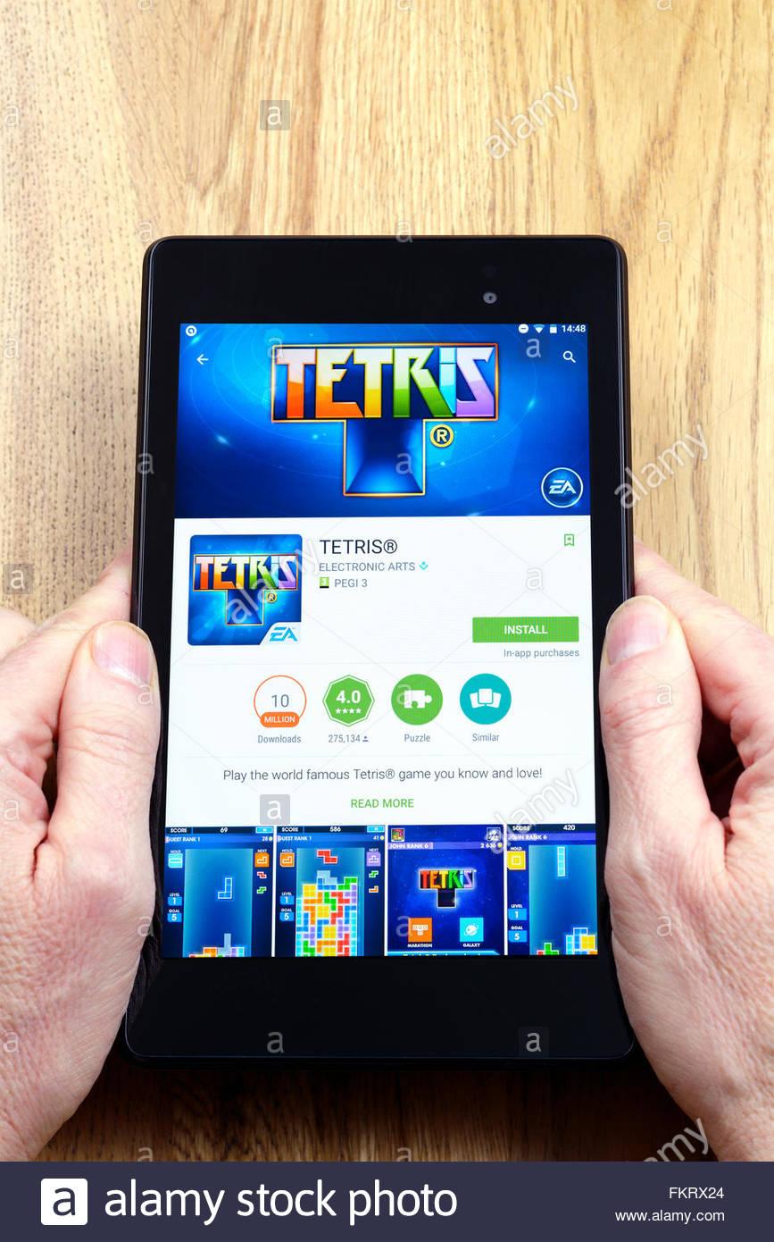 Jeu vidéo Tetris sur une app Android Tablet PC, Dorset, England, UK Photo Stock