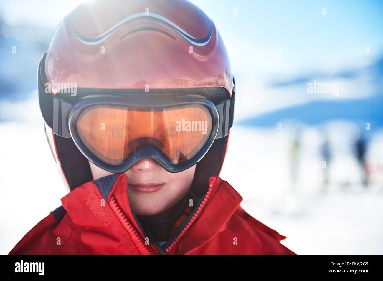 Garçon sur des vacances de ski Photo Stock