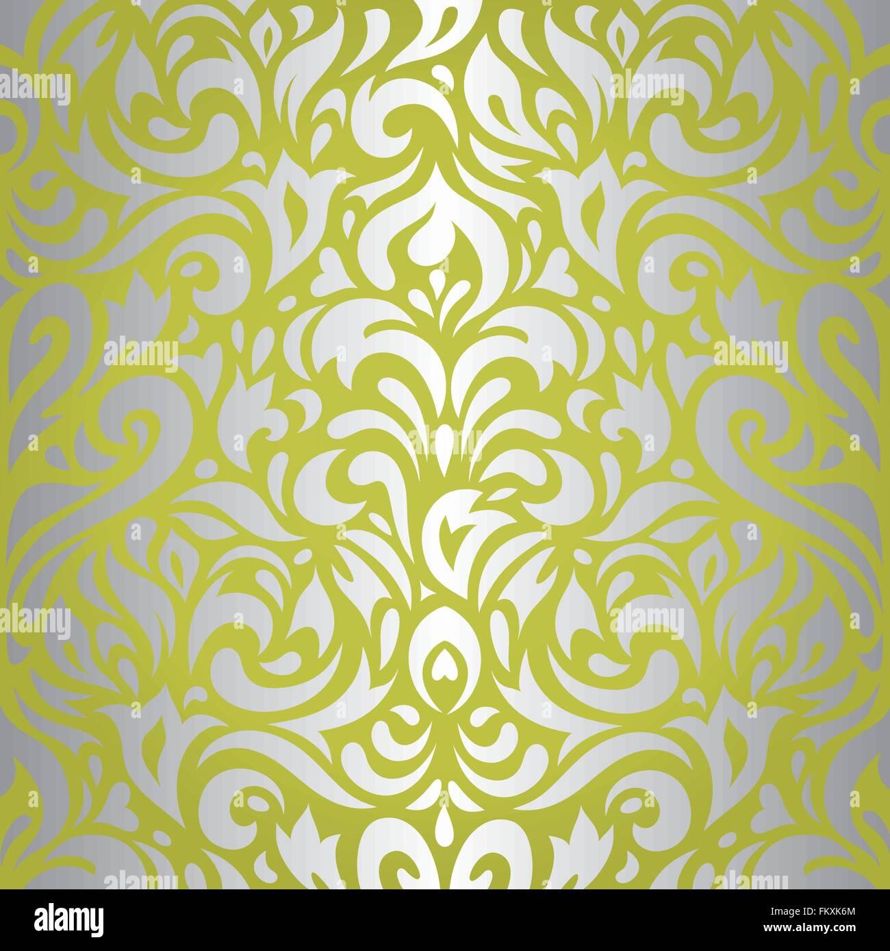 Vert Floral Argent Vintage Papier Peint Retro Arriere Plan De