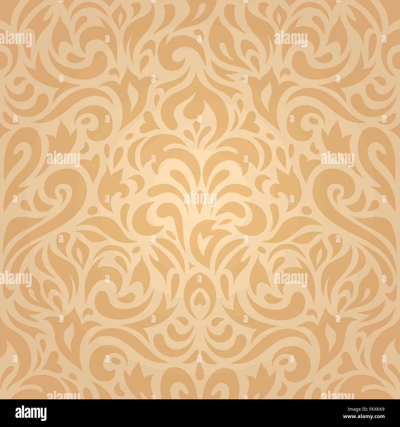Retro Vintage Floral Ocre Fond Papier Peint Decoration Design Image Vectorielle Stock Alamy