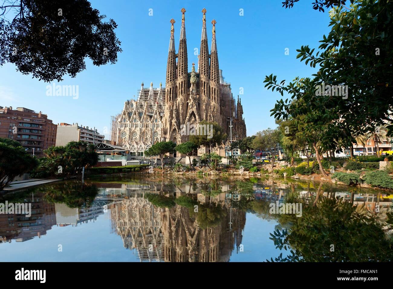 Espagne, Catalogne, Barcelone, Sagrada Familia, la cathédrale inscrite au Patrimoine Mondial de l'UNESCO Photo Stock