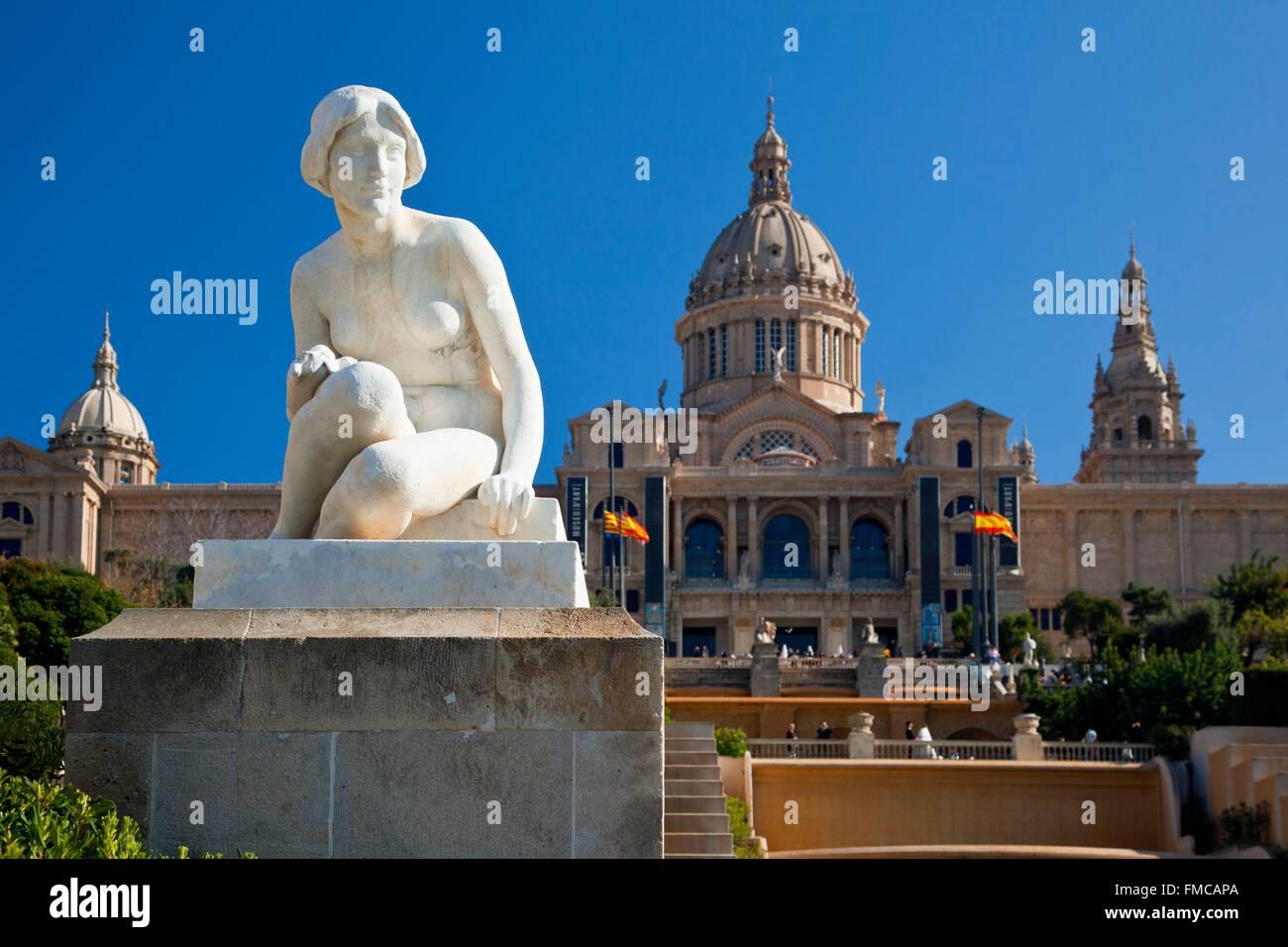 Espagne, Catalogne, Barcelone, de Montjuic, le Palais National (Palau Nacional), Musée National d'Art de Photo Stock