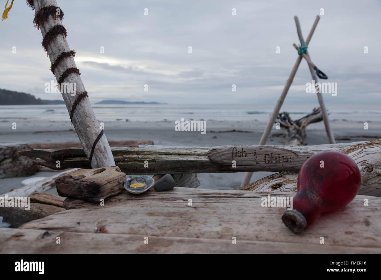 Site de Camping sauvage à Nels Bight, parc provincial de Cape Scott, l'île de Vancouver, Colombie Photo Stock