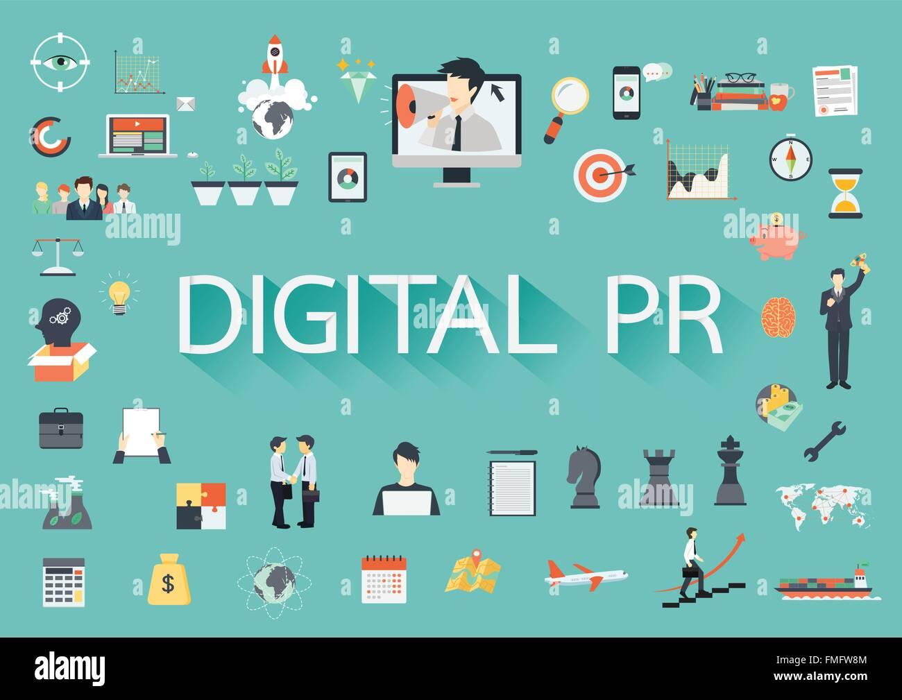 Relations publiques numériques vector concept d' icônes illustration pour présentations et rapports Photo Stock
