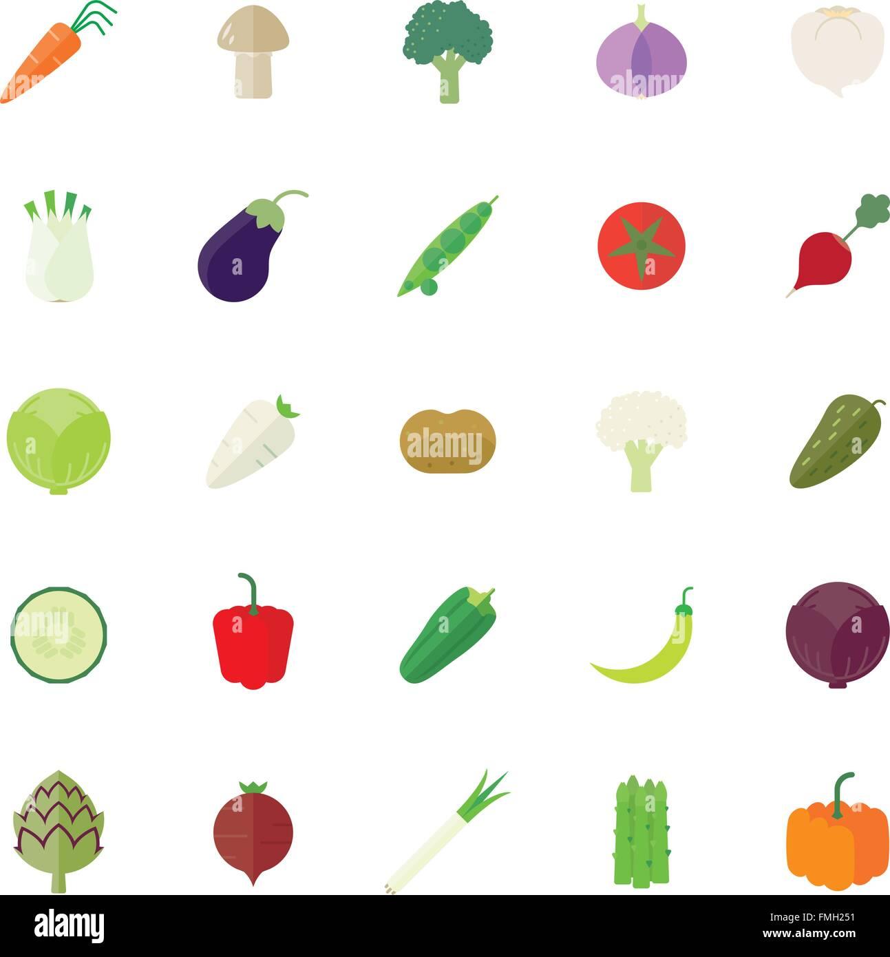 Collection d'icônes design plat de légumes Photo Stock