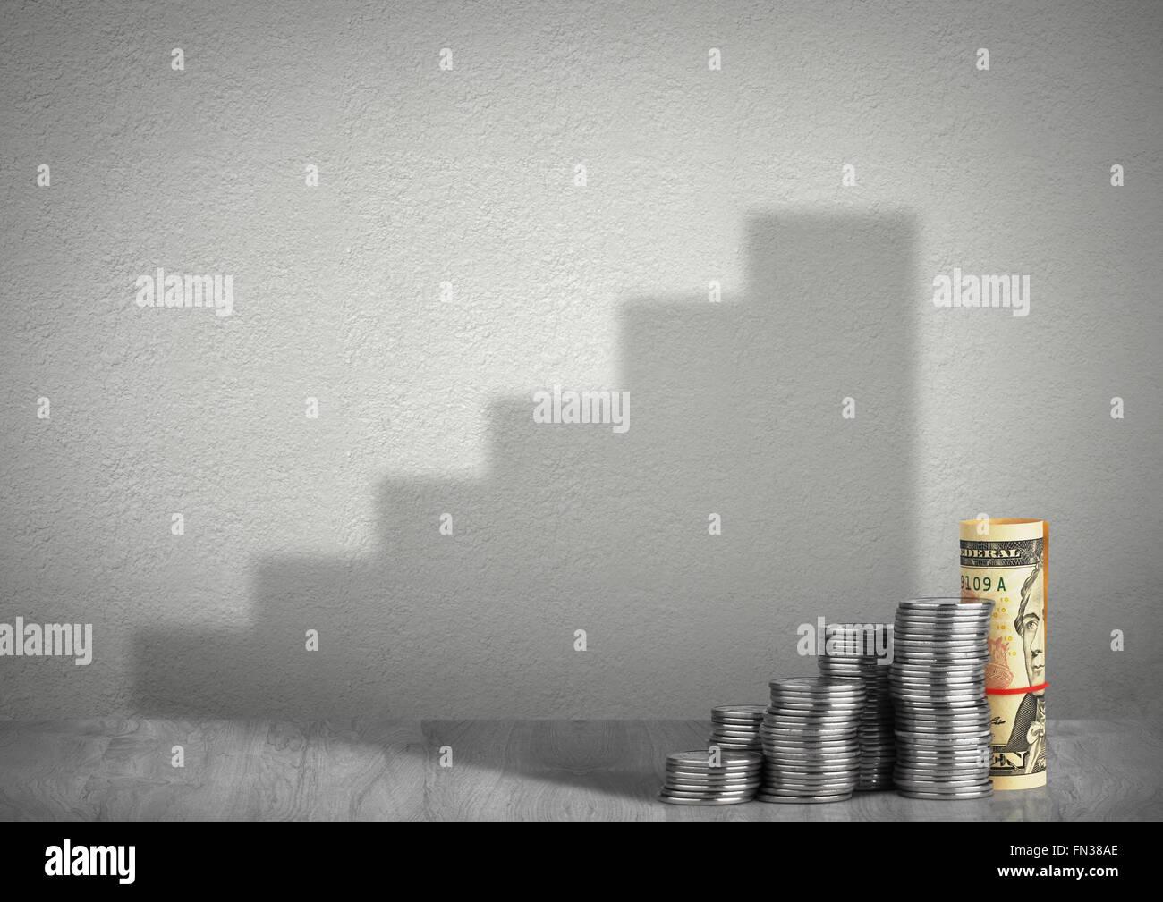 Concept de croissance financière, de l'argent avec ombre Photo Stock