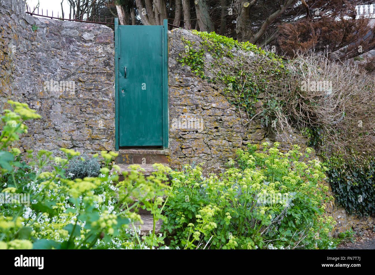 Une Vieille Porte Verte Situe Dans Un Jardin Mur Cacher Ce Qui Est