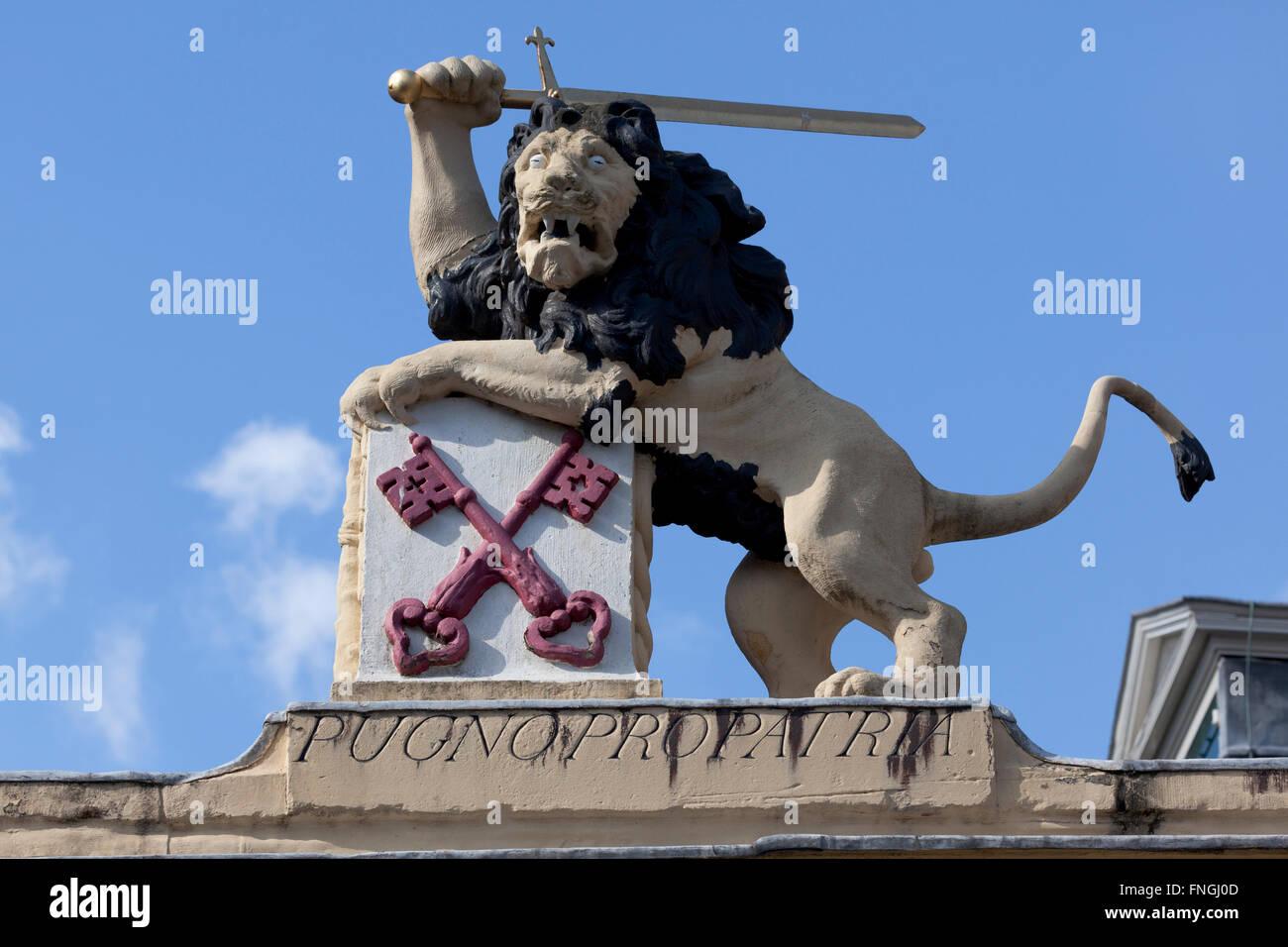 Lion hollandais avec une épée, blason de la ville de Leiden, Pays-Bas Photo Stock