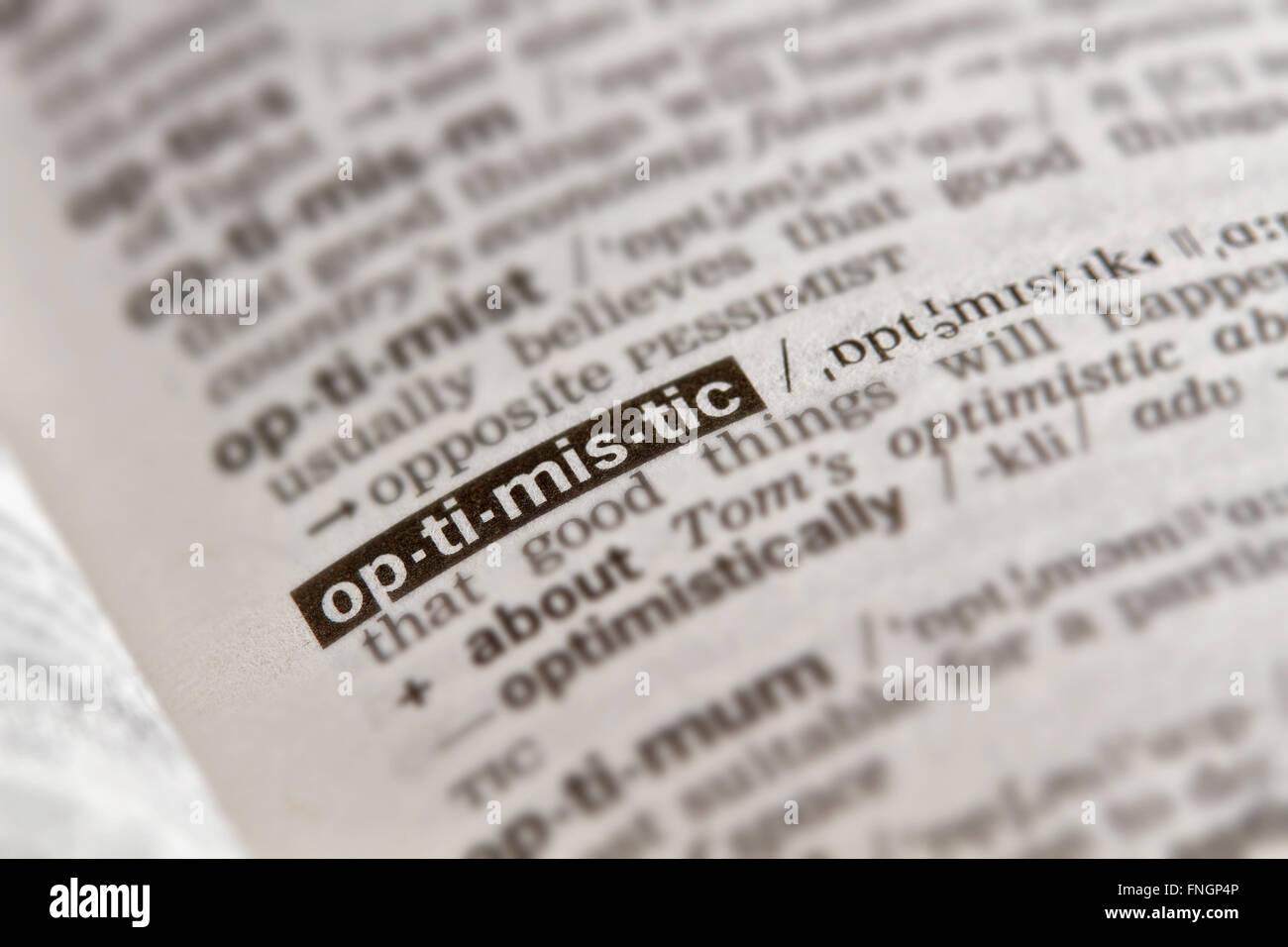 Mot optimiste Texte de définition dans le dictionnaire Page Photo Stock