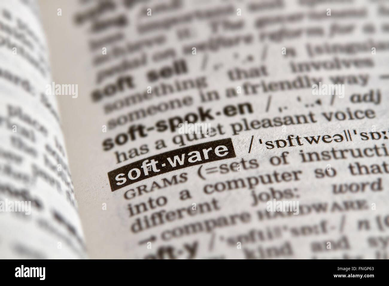 Définition du logiciel Word en texte Page Dictionnaire Photo Stock