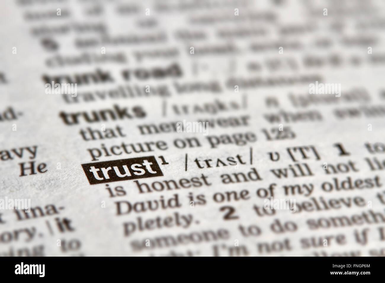 Trust mot Texte de définition dans le dictionnaire Page Photo Stock